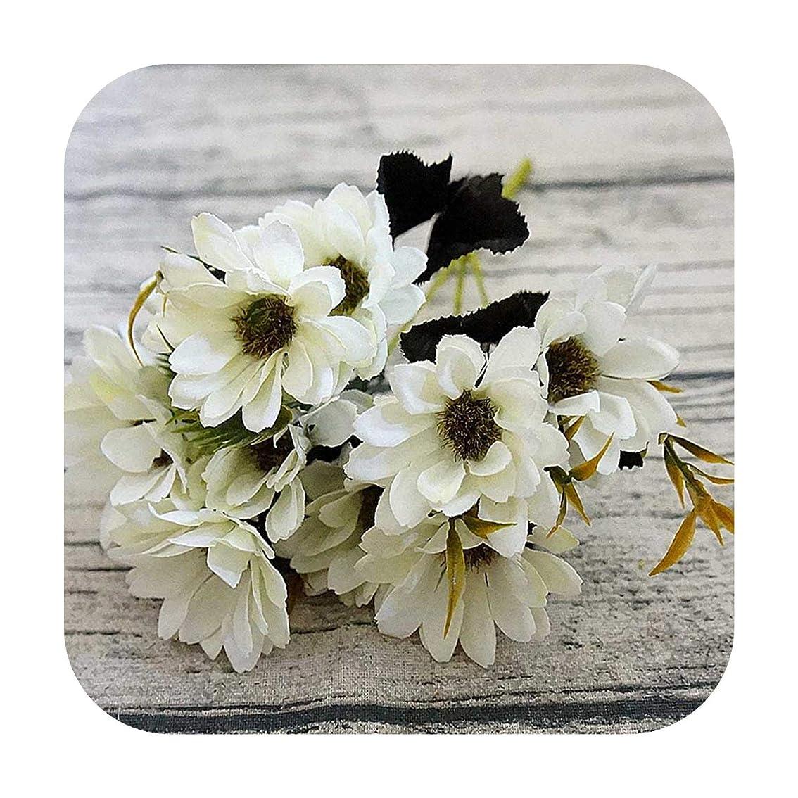 統治可能咲く過剰10heads / 1bundleシルクデイジー花嫁の花束用クリスマスホームウェディング新年装飾偽植物ひまわり造花-white-
