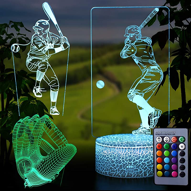 TYMYi Baseball Toys Night Light 3D Baseball Night Lamp 7 Colors Optical Illusion Touch Remote Control Best Birthday Christmas New Year Gifts For Boys Girls Baby Gifts For 7 6 5 Year Old Boy