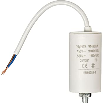 Motor Permanent Running Capacitor of 4/µF 450V /Ø34x64mm /±5/% 3000h Aerzetix With a Cable C18664