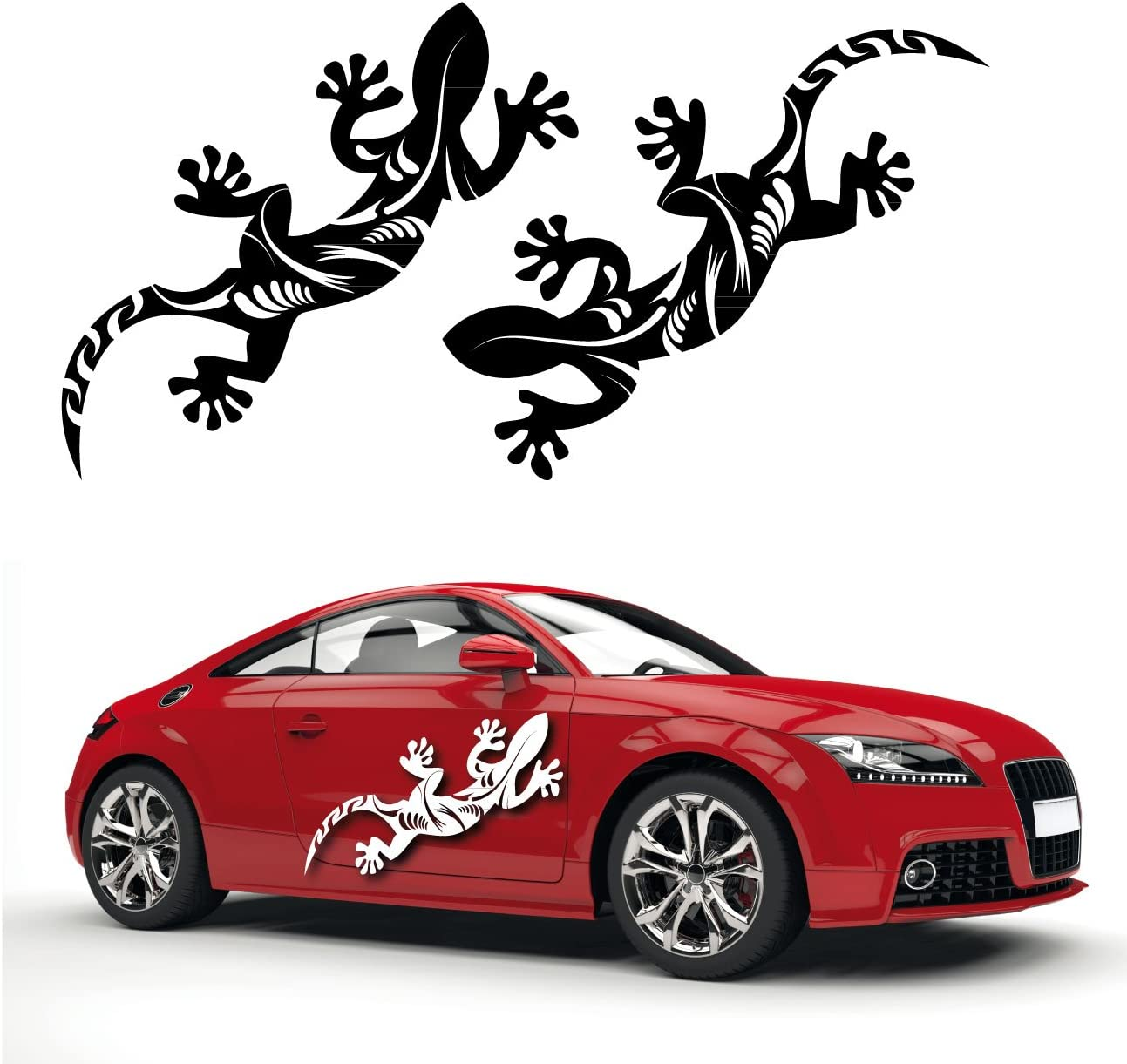 2er Set Gecko Autoaufkleber Aufkleber Geko Gekko Auto Sticker Hibiskus Tattoo Motiv Kb268 Auto