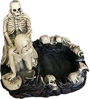 HEYFAIR Halloween Skulls Sexy Statue Sculpture Nude Woman Home Cigarette Ashtray (B)