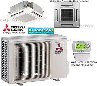 Mitsubishi 9,000 BTU Mr. Slim, 3/4 Ton, 15 SEER, Single Zone - AC & Heat Pump Ductless Ceiling Recessed Mini-Split System Ceiling Cassette Cool & Heat