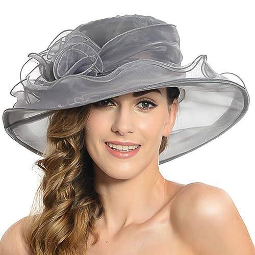 b928e033 Discoball Women's Sun Hat - Floral Organza Flat Large Wide Brim Gauze  Kentucky Derby Cap -