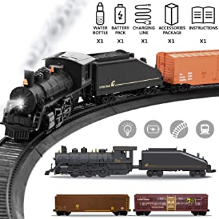 Liberty Imports Diecast Model Freight Train Set with Steam Locomotive Engine, Cargo, and Tracks - Electric Powered Play Set Toy with Smoke, Lights, Sounds (1:87 Scale)