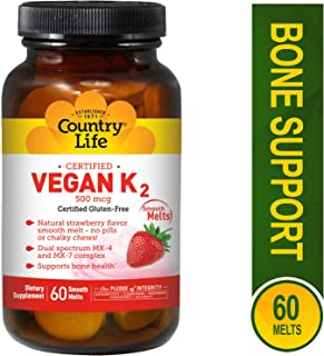 COUNTRY LIFE Vegan K2 Melts 500 MCG, 60 CT