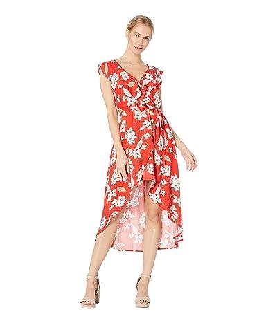 BB Dakota Giuld the Lily Printed Wrap Dress (Poppy Red) Women