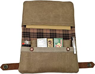 Hide & Drink, Soft Waxed Canvas Tobacco Pouch, Field Notes Case for Travel & Nomad Commuter, Vintage Carry Happy Bag Handmade :: Fatigue