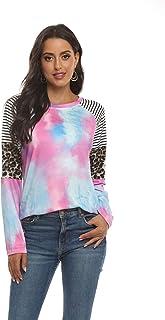 QIAO Sudadera para Mujer Tie-Dye Estampado con Manga Larga Jerséis Sueltos Sudadera Mujer Chándal,Púrpura,L