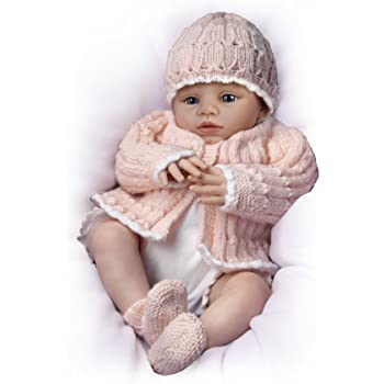 The Ashton - Drake Galleries 'Abby Rose' - Ashton Drake Poseable Lifelike Baby Girl Doll by Marissa May - With Knitted Outfit and RealTouch Vinyl Skin So Cute Baby Girl Doll