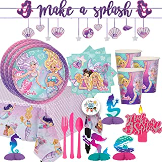 Mega Barbie Mermaid Birthday Party Supplies and Decorations For 16 With Barbie Mermaid Plates, Cups, Napkins, Tablecover, Banners, Mermaid Table Decorations, Cutlery, Candle and Exclusive Pin
