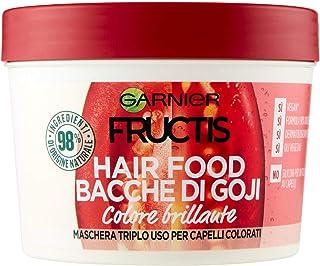 GARNIER Maschera Color Resist Fructis Hair Food, Maschera Nutriente 3In1 con Formula Vegana per Capelli Colorati, Bacche d...