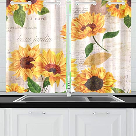Hand Drawn Vibrant Yellow Watercolor Sunflowers Kitchen Curtains Window Curtain Tiers For Café Bath Laundry Living Room Bedroom 26 X 39 Inch 2 Pieces Amazon Ca Home