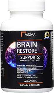 Brain Supplement for Focus, Energy, Memory and Mental Clarity Nootropic with DMAE, Bacopa Monnieri, L-Glutamine, Huperzine...