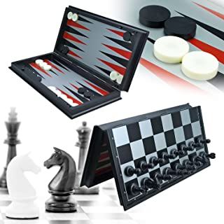 UWANTME 3-in-1 Game Set - Chess Checker and Backgammon