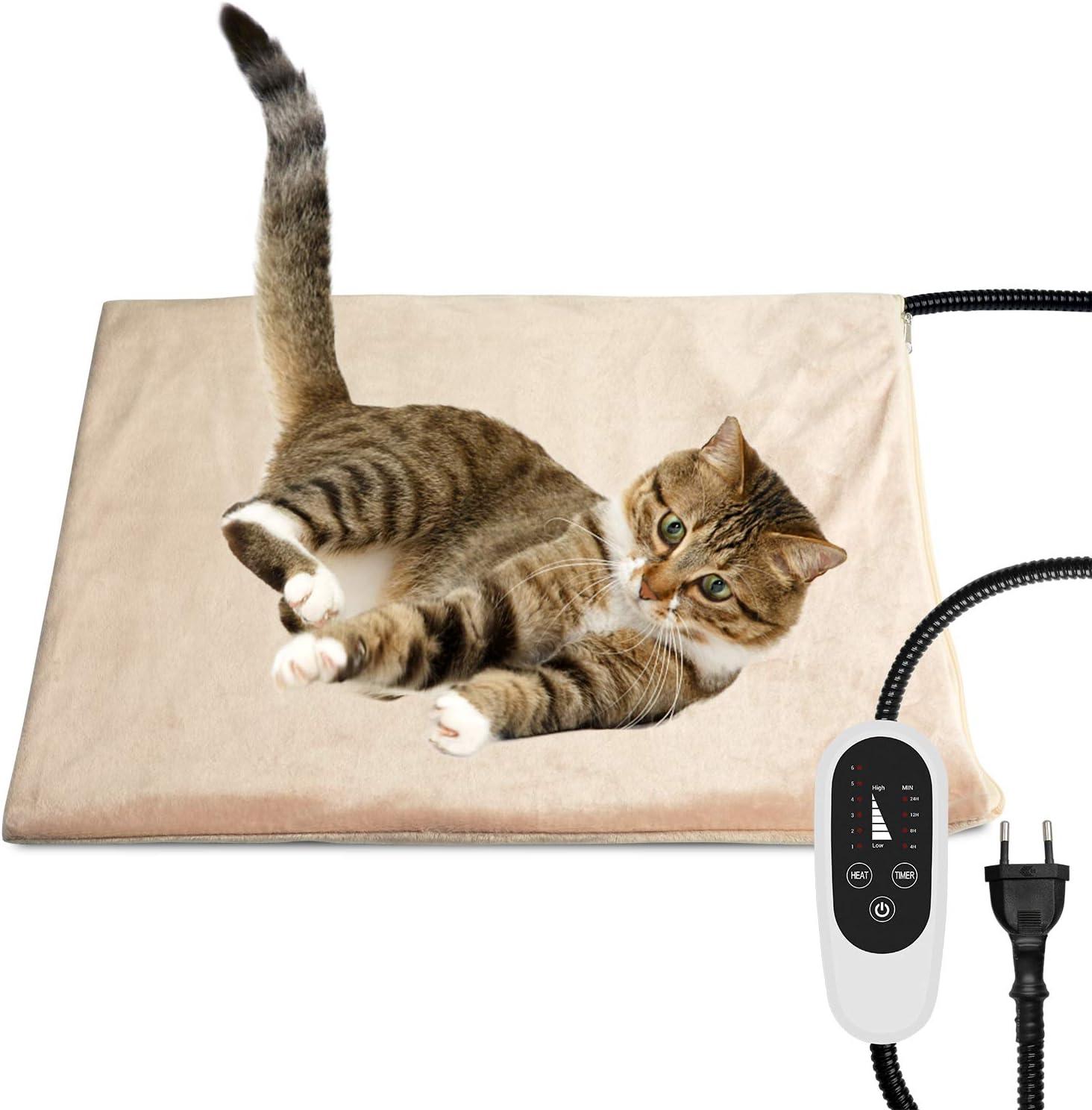 NICREW Manta Electrica para Mascotas, Almohadilla Termica para Perros y Gatos con Temporizador, Manta para Mascota con 6 Niveles Disponibles de Temperatura, 45x40 cm