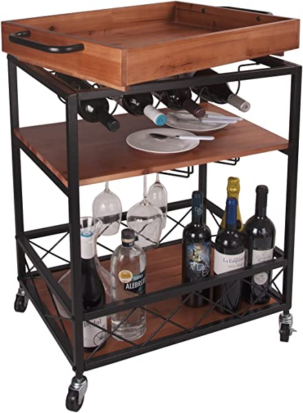 LEVE 24 X18 Solid Wood Kitchen Serving Cart Bar Buffet Cart 3 Tiers With Bottle And Goblet Holder