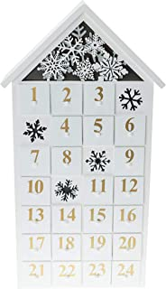 Clever Creations House Shaped Advent Calendar - Bright LED Christmas Lights Scene with Snowflakes - Premium Christmas Decor - Cute Holiday Decoration - Wood Construction - 8.25 in x 2.75 in x 17.5 in