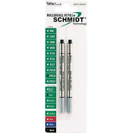 6X Schmidt P8120 Short Capless Rollerbal Refill Blue//Black Ink Broad Tip