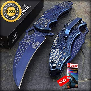 8.5'' TITANIUM DRAGON FIRE ACID ETCHING SPRING ASSISTED FOLDING POCKET KNIFE BLUE Combat Tactical Knife + eBOOK by Moon Knives