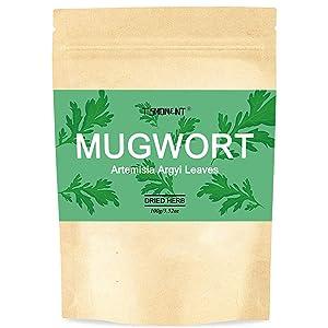 Mugwort Tea, T'SMOMENT 100% Organic Dried Chinese Mugwort Leaves (Artemisia Argyi Leaves) Natural Herb Tea 3.5oz(100g)