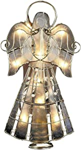 Capiz Angel with Vines and Pearls Lighted Christmas Tree Topper 9.75 Inch - by Mogullifestyle
