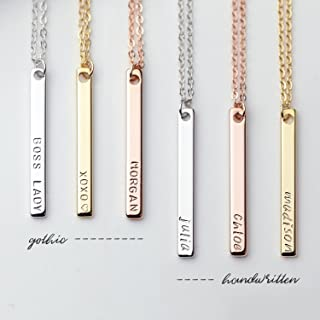 Dainty Vertical Hand Stamped Name Gold Bar Necklace Personalized Gift for Women Bridesmaid Proposal Jewelry Mother's Day Gifts for Her Best Friend Necklaces - 13N