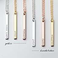 Dainty Vertical Hand Stamped Name Gold Bar Necklace Personalized Gift for Women Bridesmaid...