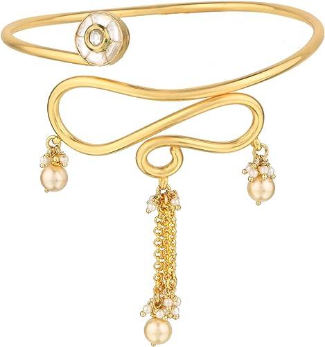 ACCESSHER Golden Copper Jadau Kundan Tassles Bajubandh/Armlet for Women