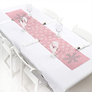 Big Dot of Happiness Pink Winter Wonderland - Petite Holiday Snowflake Birthday Party or Baby Shower Paper Table Runner - 12 x 60 inches