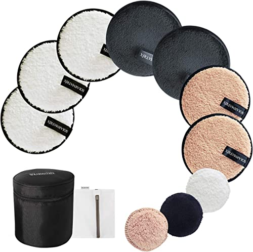 Reusable Makeup Remover Pads: 7-Pack ( 3.7inch) Coming with Laundry Bag, Travel Bag and 3 Eye Pads - Soft Chemical-fr...