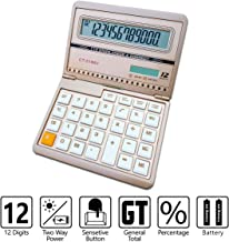 Calculator, Standard Function Scientific Electronics Desktop Calculators, Solar Battery Dual Power Basic Office Calculator, Big Button 12 Digit Large LCD Display, Daily and Office Work