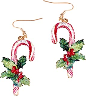 Wonderent Glimmering Sweet Candy Cane Happy Holidays Earring