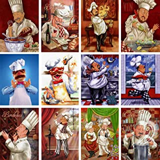 Bitoufou 5D DIY Diamond Painting Cross Stitch Pattern Diamond Embroidery Cartoon Happy Chef Diamond Mosaic Home Kitchen Decoration Gifts-40x50cm