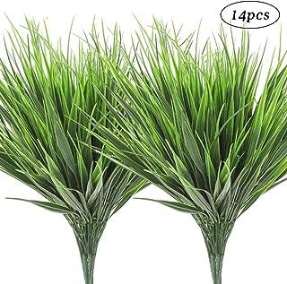 AGEOMET 14pcs Artificial Outdoor Plants Plastic Wheat Grass Greenery Grass UV Resistant Fake Outdoor Plants Plastic Shrubs for Outdoor Home Garden Decoration