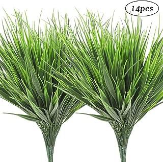 AGEOMET 14pcs Artificial Plants Fake Plastic Greenery Shrub Bushes UV Resistant Plants Plastic Wheat Grass for Indoor Outdoor Home Garden Decoration
