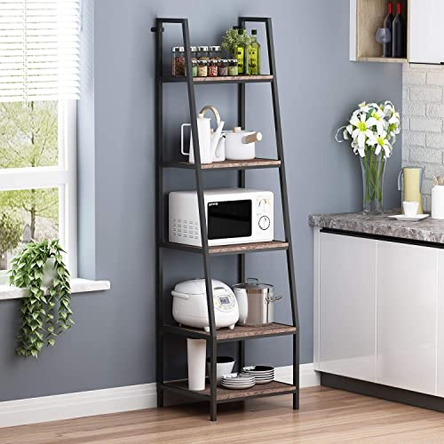 """high quality O&K FURNITURE outlet sale 5-Shelf sale Ladder Bookcase, Leaning Bookcases and Book Shelves, Industrial Rustic Bookshelf, Home Office Etagere Bookcase-Height: 72""""H, Gray-Brown Finish (1-pc) online"""