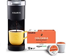 Keurig K-Mini Single Serve Coffee Maker with AmazonFresh 12 Ct. Colombia Medium Roast K-Cup Coffee Pods, 6 to 12 oz Brew Size