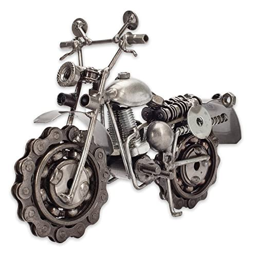 Collectible Art Sculpture 7 Inch Rough Rider Motorcycle Made With Recycled Metal