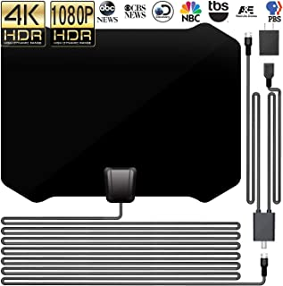 DeveSouth 60-80+Miles Ultra Indoor TV Antenna Amplifier High Reception Amplified HDTV Antenna TV Signals Digital TV Antenna for 4K VHF UHF 1080P Channels Free Gain 16ft Cable