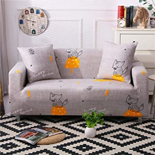 Stretch Slipcover Fitted Furniture Protector Print Sofa Cover Stylish Couch Cover with 2 Pillow Cases for Loveseats/Sofas/Sectional Couches,Fox