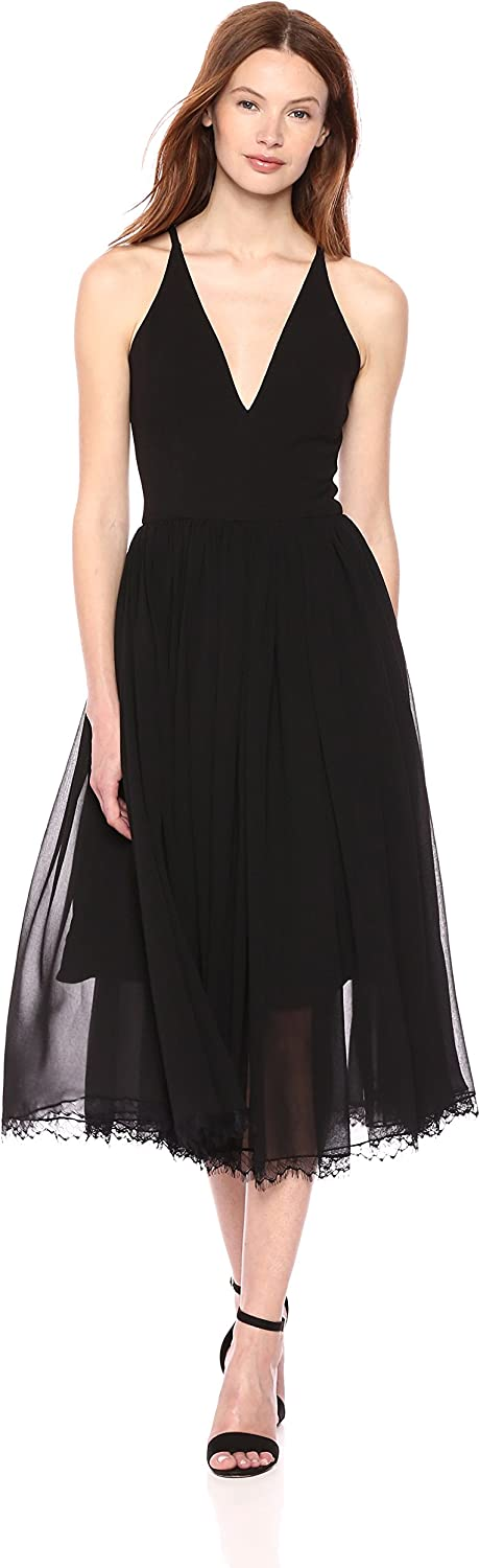Dress the Population Women's Alicia Plunging Mix Media Sleeveless Fit and Flare Midi Dress