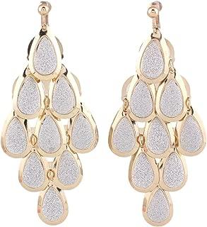 Grace Jun New Handmade Multi-layer Dangle Drop Earrings and Clip on Earrings No Pierced for Women