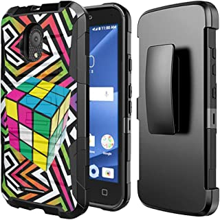 Capsule Case Compatible with Alcatel IdealXcite, Alcatel Verso, Alcatel CameoX, Alcatel Raven LTE [Dual Layer Combat Armor Style Kickstand Holster Combo Case Black] - (Rubiks Cube)