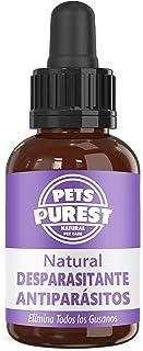 Pets Purest Desparasitante antiparasitario 100% natural para perros, gatos, aves, conejos y masco...