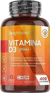 Vitamina D3 2000 UI 400 Comprimidos - Vitamina D Colecalciferol Vegetariano, Para más de 1 Año de Suministro Contribuye a ...