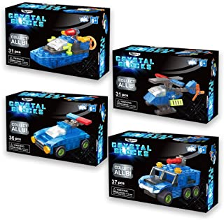Bulls i Toy Brainstem Crystal Blocks Bundle - Boat, Police Car, Helicopter, & Firetruck