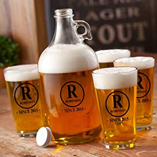 Personalized Beer Printed Growler Set With 4-16 oz Pint Glasses - Engraved Beer Growler