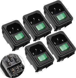 uxcell 5 Pcs 3P SPST Green Light Illuminated On-Off Snap In Rocker Boat Switch IEC320 C14 Inlet Power Socket AC 125V 10A 250V 6A