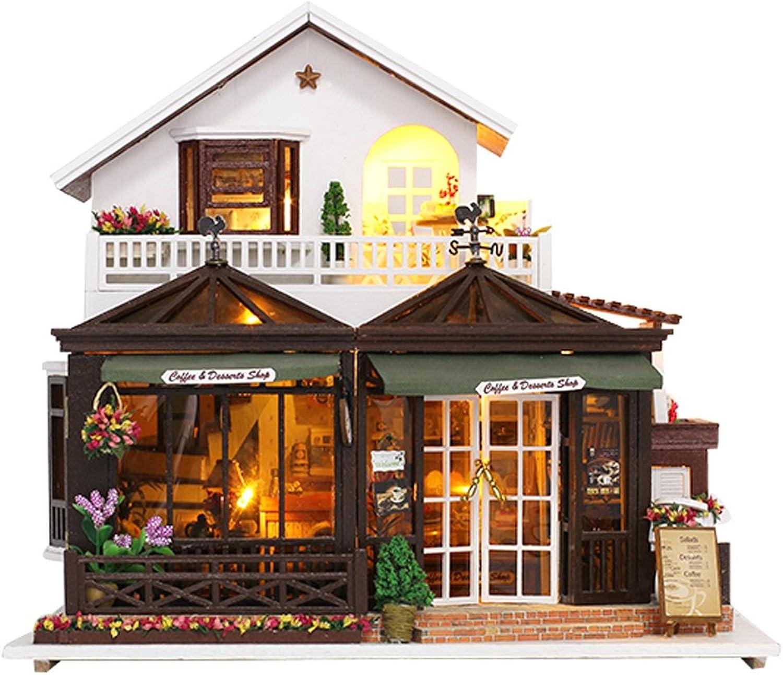 tiendas minoristas NON NON NON MagiDeal Miniatura DIY Dolls House Kit con Muebles de Led Luces sin Cubierta - Coffee House  80% de descuento