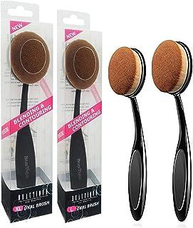 Beautia 2PACK Oval Makeup Brushes, Foundation, Blusher. Contouring Makeup Tools (XL & L)